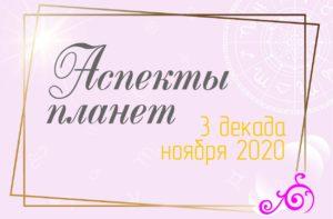 Аспекты планет 3 ноября декабря 2020